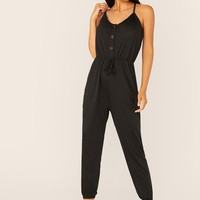 Tie Neck Split Back Buttoned Slant Pocket Jumpsuit