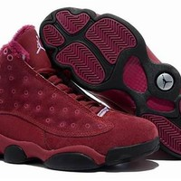 Cheap Nike Air Jordan 13 Men Shoes Suede Burgundy Black