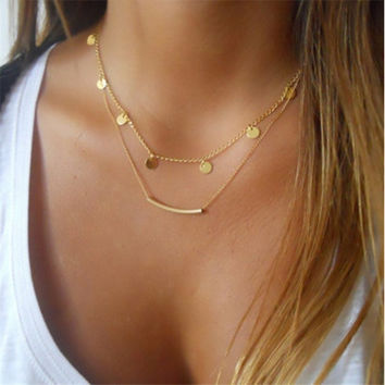 Disc and Bar Layer Necklace in Gold+Gift Box