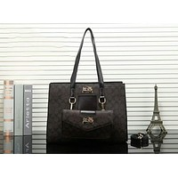 Coach Trending Women Stylish Leather Satchel Handbag Tote Shoulder Bag Two Piece Set Coffee I-OM-NBPF