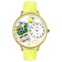 Whimsical Unisex Bird Watching Yellow Leather Watch