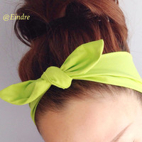 Lime Green Neon Dolly Bow Headband