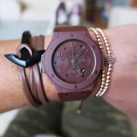 ZENGER Nautical Anchor with Genuine Leather Wrap Bracelet Coffee