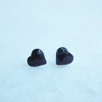 Black Heart Forever In Love Silver Stud Earring 92.5% Ster, Cartilage Piecing Silver Post Charm Kids Jewelry Bridesmaid Gift under 10