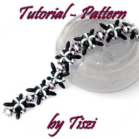 Beading tutorial, pattern for beaded bracelet Ilda, with daggers and two hole lentils. PDF instructions, step by step