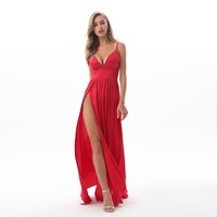 2019 Sexy Deep V Neck Backless Maxi Dress 2 High Splits Dress Red Satin Floor Length Open Back Night Club Party Dress