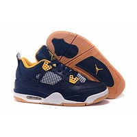 Air Jordan 4 Retro AJ4 Navy/Yellow Sneaker Shoes US size 8-13