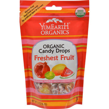 Yummy Earth Organic Candy Drops Freshest Fruit - 3.3 Oz - Case Of 6