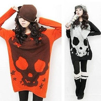 Women Halloween Skull Knitwear Long Sleeve Shirt Long Knit Sweater Tops Blouse [7687418950]