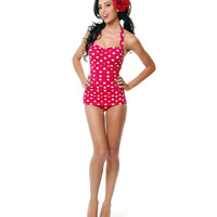 Vintage 1950s Style Pin Up Red with White Polka Dots Swimsuit