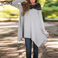 YOINS 2016 New Lace Splice Long Sleeve Tops Women Casual Irregular Hem Sexy Long Blouse Plus Size Fashion Loose Lady Shirts XL