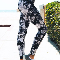 Tie Dye Active Leggings - Black/White