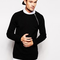 ASOS Longline Lambswool Rich Jumper with Zip at asos.com