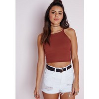 Ribbed High Neck Crop Top Terracotta - Ribbed - High neck - Crop - Tops - Missguided