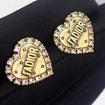 DIOR Classic Popular Women Retro Heart Diamond Earrings Jewelry Accessories