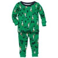 Skiing Bear Snug Fit Cotton 2-Piece PJs