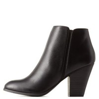 Black Chunky Heel Ankle Booties by Charlotte Russe