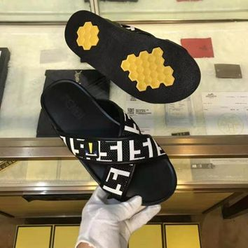 Fendi Men Women Fashion Slipper Flats Shoes