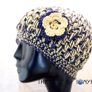Crochet Bubble Hat - Notre Dame, Penn State, Pitt Panthers, College Football, Navy, Gold, Womens Fashion, Winter Accessories - Holiday Gift
