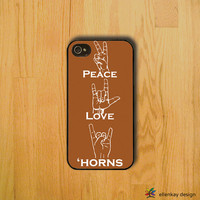 Peace, love and longhorns rubber iPhone case