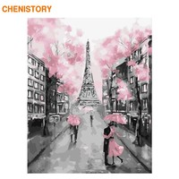 CHENISTORY Frameless Romantic Paris DIY Painting By Numbers Modern Wall Art Canvas Painting Unique Gift For Home Decors 40x50cm