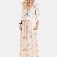 Feather Rose Maxi Skirt By One Teaspoon