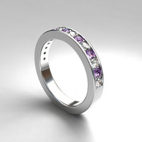 Lavender sapphire and white sapphire wedding band, white gold ring, half eternity, purple sapphire, unique wedding, thin, engagement, violet