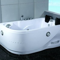 Two 2 Person Whirlpool Massage Hydrotherapy White Corner Bathtub Tub with FREE Remote Control and Water Heater