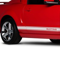 American Muscle Graphics Mustang White Rocker Stripes w/ Mustang Lettering 26622G05 (05-14 All) - Free Shipping