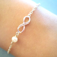 Simple Cute Infinity Pearl Gold Silver Bracelet by Simplecrystal