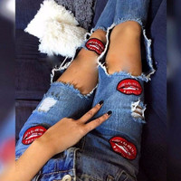 Ripped Holes Patchwork Pants Summer Jeans [10399121869]