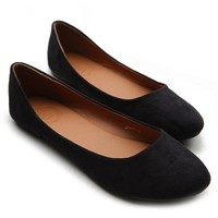 Ollio Womens Shoe Ballet Light Faux Suede Low Heels Flat(6.5 B(M) US, Black)