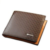 Men's Casual Brown Leather Grids Wallet