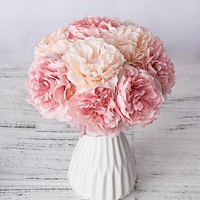 1 Bouquet 5 Heads Artificial Silk Peony Flowers
