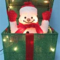 "Christmas Surprise Lighted Festive Animated Gift Box - 20"" x 20"" x 20"" Square"