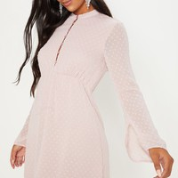Dusty Pink Textured V Neck Skater Dress