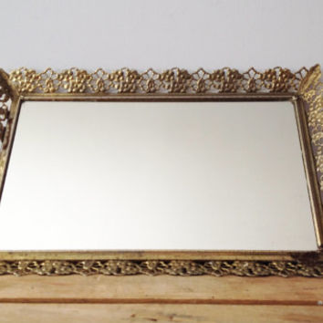 Brass Vanity Tray - Rectangle - Mirrored Tray - Vintage Hollywood Regency
