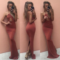 Cross Halter Front Body-con Back Slit Maxi Dress