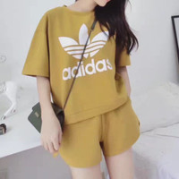"""Adidas"" Fashion Casual Clover Letter Print Cotton Short Sleeve Set Two-Piece Sportswear Sleepwear"