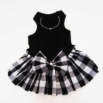 Black and White Color Block Check Dress Dog Dresses Dog Clothes