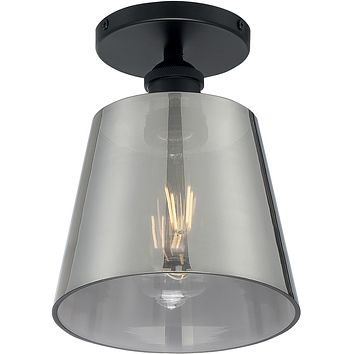 "7""W Motif 1-Light Close-to-Ceiling Black / Smoked Glass"