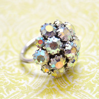 Vintage Statement Cocktail Ring, Size 6, Silver Tone Adjustable, Sarah Coventry, Aurora Borealis Rhinestone, Womens Estate Jewelry, Gift Her