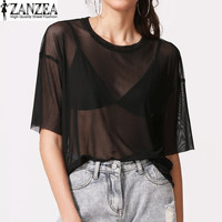 Women Round Neck Mesh See Through Black Solid Tops Blouse Summer Ladies Pure Sheer Casual Loose Shirts Tops Blusas