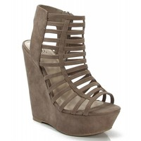 New Delicious Euphony-S Open Toe Strappy Platform Wedge TAUPE