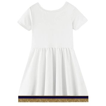 Toddler Girls Short Sleeve Cloud White Dress With Fringes