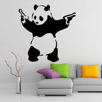 Panda with Pistols (Guns) Banksy Street Art Vinyl Wall Sticker, Home Art Decor Removable Decal, DIY Mural for office, home, room, apartment