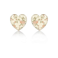 Cream floral print enamel heart earrings