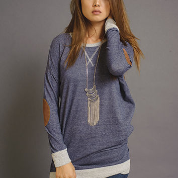 Get Cozy Sweater with Elbow Patches (Navy)