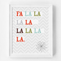 Fa La La, Holiday Song Lyrics, Holiday Poster, Modern Holiday Decor, Christmas Wall Art Quote, Christmas Decor, Holiday Art Print