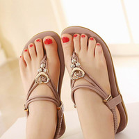 Women Shoes Flat Heel Flip Gladiator Heart Jelly Flip-flop Sandals Flat Women's Shoes Thong Beaded Shoes